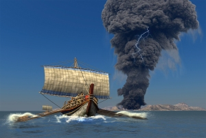 An artists depiction of Minoans fleeing the volcanic eruption