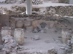 Pots preserved from the pumice fall from the first phase of the eruption.