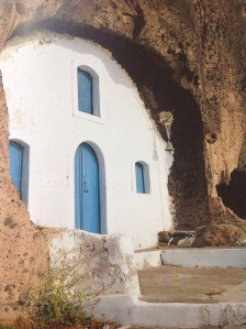 This is a church built into the inner side of the caldera wall.