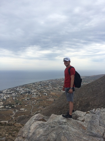 Jonathan overlooking the town of Perissa from Ancient Thera