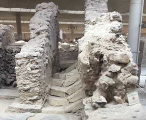 Fig. 2 - A broken staircase at Ancient Akroteri, most likely broken by a pre- eruption earthquake