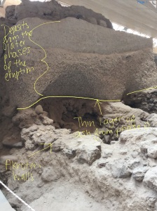 Figure 1- The thin layer of ash deposited by phase 0 at ancient Akroteri, buried underneath the ash from later phases.