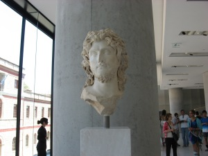 A bust from the Acropolis museum, an example of the type of sculptures made in honor of the gods.