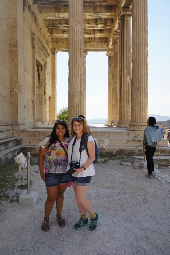 Sadie and Jenna at the foot of the Erectheon.