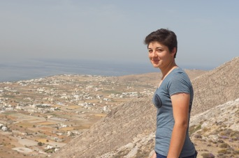 Jessica at the top of our hike to Ancient Thera