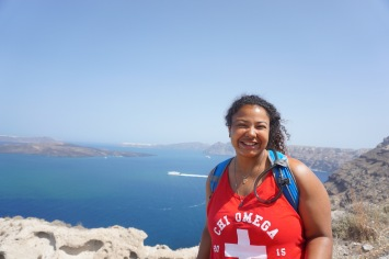 Bri at the top of Cape Plaka