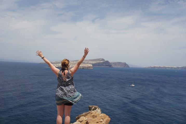 Jenna overlooking Aspronisi (small white island)