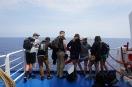 From left Ryan, Josh, Ben, Sheridan, Emily, Ellen and Kendall waiting for site of caldera rim