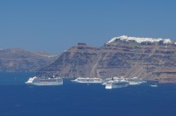 Four cruise ships in the caldera!