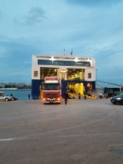 3rd Entry: Upon arriving at the docks, we stood for a short while and watched the plethora of cars and trucks pile onto the ferry. Here we first glimpsed the deep blue water that we would carry us to our destination.