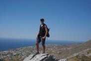 Ryan at the saddle between Mt. Profitas Ilias and Mesa Vouno
