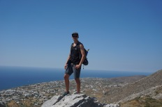Ryan at the saddle between Mt. Profitas Ilias and Mesa Vouno