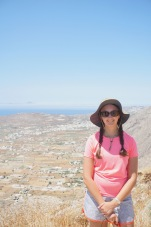 Tayler on the summit of Mesa Vouno, the site of Ancient Thira