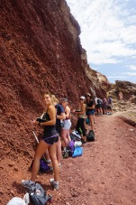 The group on the path that exposes the interior of a cinder cone