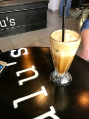 Many Greeks have coffee late in the afternoon. For many people, coffee is a necessity. The Greeks love their coffee, and have had their unique coffee since 1957. The frappe (pictured above) is a common coffee drink in Greece that is made from Nescafé, water, and sugar and has a thick layer of foam on top.