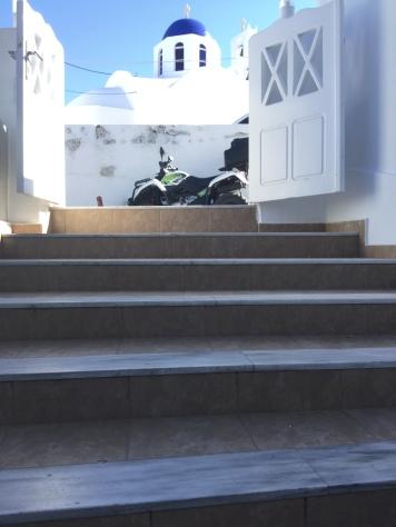 ιʹ-10. Another view of those same marble steps at the Loizos Hotel with a beautiful backdrop of an iconic white and blue Greek church to remind me of where I get to call home for a short while. For the next three weeks, I'll be walking up and down these stairs, admiring them a little more than most would.