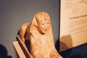 The museum had artifacts from other countries that the encient Greeks associiated themselves with. Here is a sphinx from ancient egypt sculpted out of granite. Through research I found many different sphinx that were carved out of granite as well, although limestone was most common.