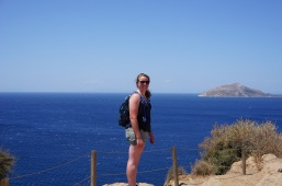 Leah with the Saronic Gulf behind her