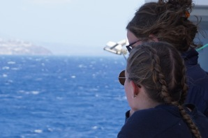 Emily and Leah coming into Santorini