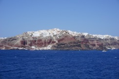 Oia, as seen from the ferry through the north passage of Santorini