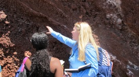 Sarah teaching Tib how to describe rocks