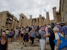 Propylaea, built in 432 BC with white marble columns, is the entryway to the Athenian, Acropolis. Tourists swarmed the area. I expected no less, as it is a popular tourist attraction.