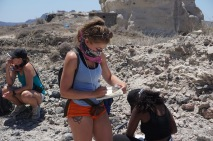 Emily rocking a bandana doing fieldwork in a pumice quarry (bandanas help protect us from inhaling ash)