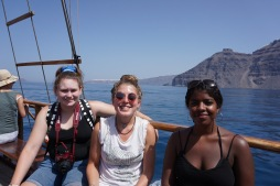 From left Laura, Emily, and Tibyan on the boat to Nea Kameni