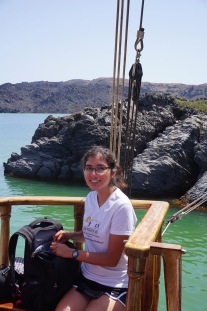 Brittany on the boat to Nea Kameni