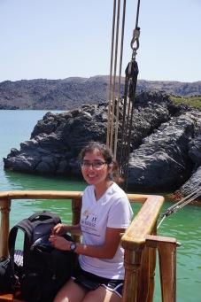 Brittany on the boat to Nea Kameni