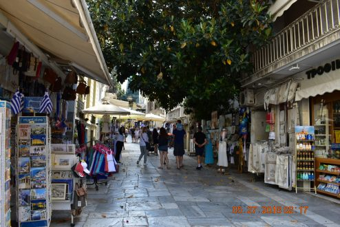 My first day in Athens was a vastly new experience to me. My day began in the local neighborhood, Plaka. The air was slightly humid and a slight breeze blew in the air. I walked down the narrow cobblestone streets lined with shops sellling various items and passed by restaurants open to all. The locals are friendly here, and they welcome tourists with open arms. I felt comfortable in this small village.