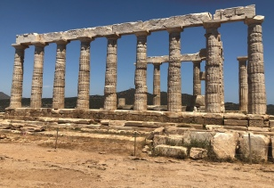Date: June 6th, 430 BC - I apologize for not writing in my diary yesterday. It took me about a day's travel to get to the Temple of Poseidon, which sits on the southern tip of Greece in Cape Sounion. It is about 69 km from the Acropolis where I live. Poseidon is the brother of Zeus and the god of the waters and the sea. It was built in 444 BC and has an astounding height of 60 meters overlooking the Aegean Sea. Next, I will be traveling to the Sanctuary of Aphrodite.